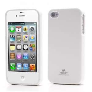 Mercury Shimmering Powder TPU Gel Case Cover for iPhone 4 4S - White