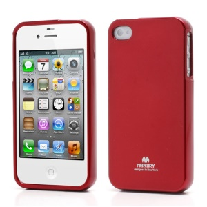 Mercury Shimmering Powder TPU Gel Case Cover for iPhone 4 4S - Red