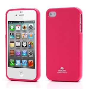 Mercury Shimmering Powder TPU Gel Case Cover for iPhone 4 4S - Rose