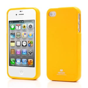Mercury Shimmering Powder TPU Gel Case Cover for iPhone 4 4S - Yellow
