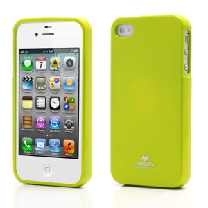 Mercury Shimmering Powder TPU Gel Case Cover for iPhone 4 4S - Green