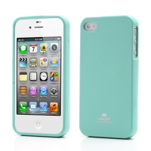 Mercury Shimmering Powder TPU Gel Case Cover for iPhone 4 4S - Cyan