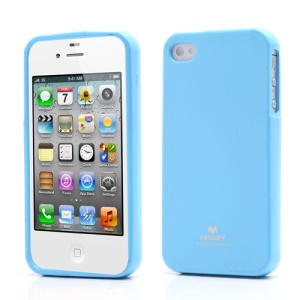 Mercury Shimmering Powder TPU Gel Case Cover for iPhone 4 4S - Baby Blue