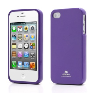 Mercury Shimmering Powder TPU Gel Case Cover for iPhone 4 4S - Purple