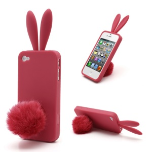Cute Rabbit Ears For iPhone 4 4S Gel TPU Cover with Velvet Stand - Red