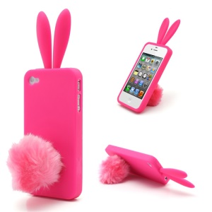 Cute Rabbit Ears For iPhone 4 4S Jelly TPU Case with Velvet Stand - Hot Pink