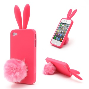 Cute Rabbit Ears For iPhone 4 4S Jelly TPU Case with Velvet Stand - Rose