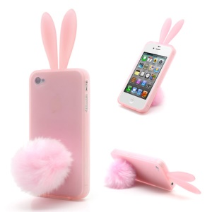 Cute Rabbit Ears For iPhone 4 4S Jelly TPU Case Cover with Velvet Stand - Pink