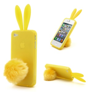 Cute Rabbit Ears For iPhone 4 4S TPU Case Shell with Velvet Stand - Yellow
