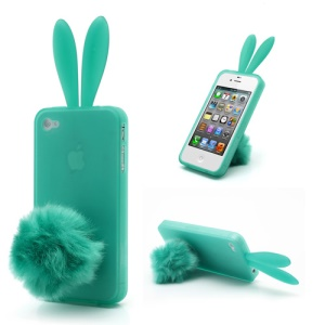 Cute Rabbit Ears For iPhone 4 4S TPU Case Shell with Velvet Stand - Green