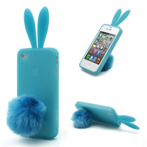 Cute Rabbit Ears For iPhone 4 4S TPU Case Cover with Velvet Stand - Baby Blue