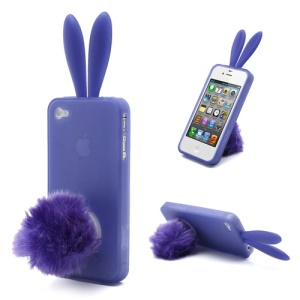 Cute Rabbit Ears Jelly TPU Case with Velvet Stand for iPhone 4 4S - Purple