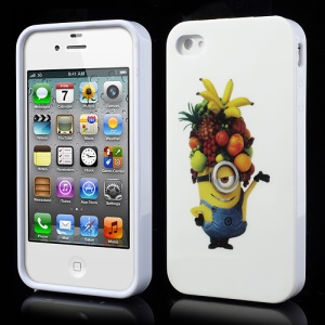 Happy Fruits Minion Despicable Me 2 IMD TPU Case Cover for iPhone 4 4S