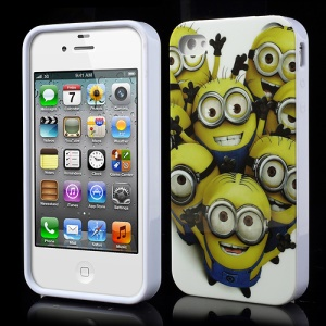 Cute Cheering Minions Despicable Me 2 IMD Jelly TPU Case for iPhone 4 4S
