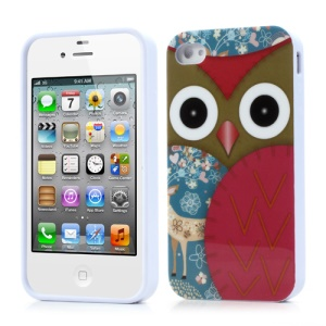 Owl & Flower Glossy TPU Case for iPhone 4 4S - Red
