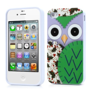 Owl & Flower Glossy TPU Cover for iPhone 4 4S - Green