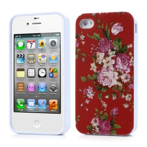 Peony Flower Glossy Jelly Case for iPhone 4 4S - Red