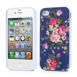 Peony Flower Glossy Jelly Shell for iPhone 4 4S - Dark Blue