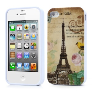 For iPhone 4 4S TPU Case Effiel Tower & Flower Design