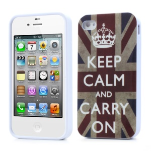 For iPhone 4 4S Gel Case Keep Calm and Carry On Union Jack Flag