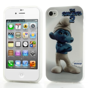 Grouchy Smurf for iPhone 4 4S Glossy Gel TPU Case Accessory