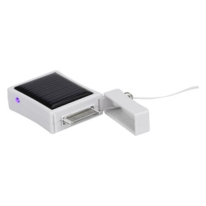 500mAh Solar Emergency Battery Charger for iPhone iPod - White