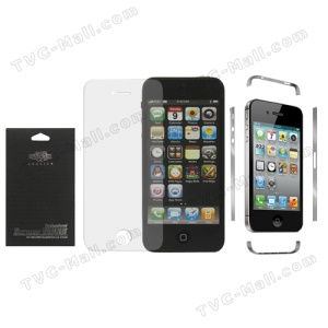 Front Clear LCD Screen Protector Cover for iPhone 4S + Transparent Side Wrap Skin Decal