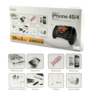 18 in 1 ipega Accessories Kit for iPhone 4 4S (Car Charger + Headphones + Case + Grip + Home Button Sticker etc)