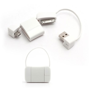 Newest Handbag 30 Pin + Micro USB Data Charge Cable for iPad iPhone 4 4S Samsung HTC LG etc - White