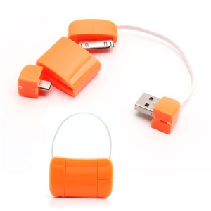 Newest Handbag 30 Pin + Micro USB Data Charge Cable for iPad iPhone 4 4S Samsung HTC LG etc - Orange