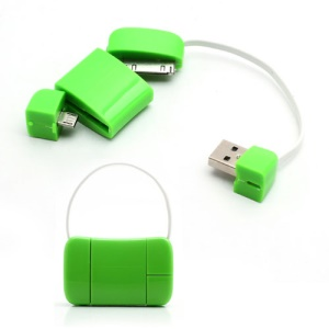 Newest Handbag 30 Pin + Micro USB Data Charge Cable for iPad iPhone 4 4S Samsung HTC LG etc - Green