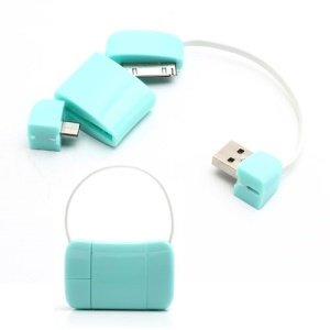 Newest Handbag 30 Pin + Micro USB Data Charge Cable for iPad iPhone 4 4S Samsung HTC LG etc - Cyan