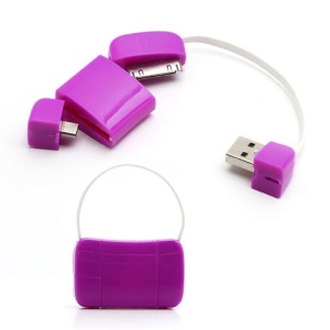 Newest Handbag 30 Pin + Micro USB Data Charge Cable for iPad iPhone 4 4S Samsung HTC LG etc - Purple