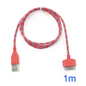 Red 1m 30-Pin USB Data Sync Charging Nylon Woven Cable for iPhone 4S 4 iPad 3 2 iPod Touch 4 3