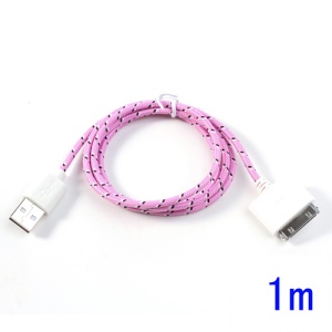 Pink 1m 30-Pin USB Data Sync Charging Nylon Woven Cable for iPhone 4S 4 iPad 3 2 iPod Touch 4 3
