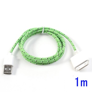 Green 1m 30-Pin USB Data Sync Charging Nylon Woven Cable for iPhone 4S 4 iPad 3 2 iPod Touch 4 3