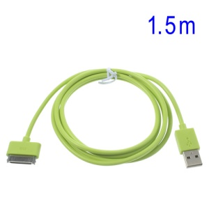 Green 1.5m 30-Pin USB Sync Charging Cable for iPhone 4S 4 iPad 2 3 iPod Touch 3 4, 30% Faster Charging