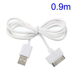 White Golf Data Transmit & Charging Apple 30 Pin USB Cable for iPhone 4s 4 The New iPad iPod Touch 4