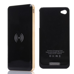 KLX for iPhone 4 4s 10000mAh Power Bank Qi Wireless Charger + Charger Case - Black / Gold