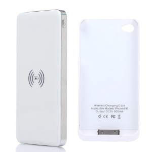 KLX for iPhone 4 4s 10000mAh Power Bank Qi Wireless Charger + Charger Case - White / Silver