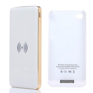 KLX 10000mAh Power Bank Qi Wireless Charger + Charger Case for iPhone 4 4s - White / Gold