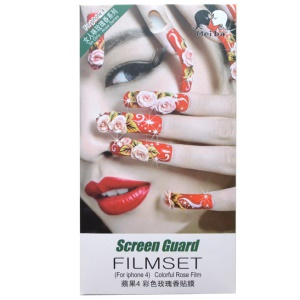 Flowered Manicures & Red Lips Girl Rose Smell Front + Back Cover Films for iPhone 4 4S