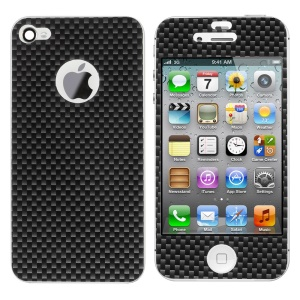 Carbon Fiber Textured Front & Back Decal Sticker for iPhone 4s 4 - Black
