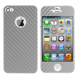 Carbon Fiber Textured Front & Back Decal Sticker for iPhone 4s 4 - Grey