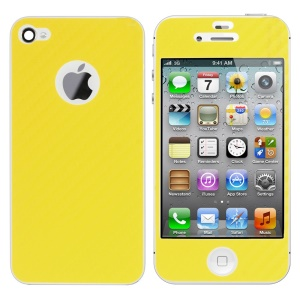 For iPhone 4s 4 Carbon Fiber Textured Front & Back Sticker Guard - Yellow
