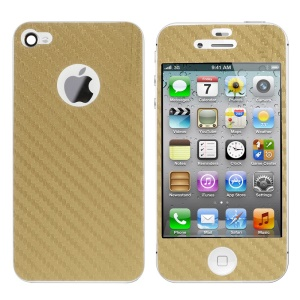 For iPhone 4s 4 Carbon Fiber Textured Front & Back Sticker Guard - Gold