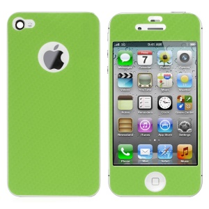 For iPhone 4s 4 Carbon Fiber Textured Front & Back Sticker Guard - Green