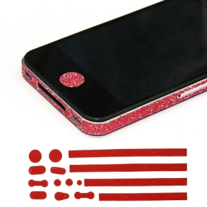 Glittery Powder Home Button & Sides Sticker Edge Cover for iPhone 4s 4 - Red