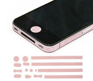 Glittery Powder Home Button & Sides Sticker Edge Cover for iPhone 4s 4 - Pink