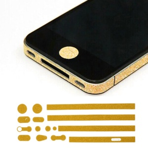 Glittery Powder Home Button & Sides Sticker Edge Cover for iPhone 4s 4 - Gold